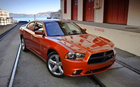 Picture Auto, Dodge, Orange, The hood, Dodge, charger, The front