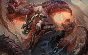 Picture woman, dragon, warrior, axe, dragons of eternity