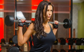 Picture brunette, pose, fitness, gloves, barbell