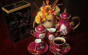 Picture flowers, Madonna service, coffee, tea, bouquet
