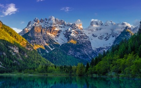 Picture forest, snow, landscape, mountains, lake, ate, landscape, mountain, lake, emerald