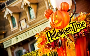 Picture Halloween, corn, house, leaves, decoration, Disney's Helloween Time, leaves, Mickey Mouse, pumpkin, house, corn, Mickey ...