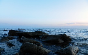 Picture the sky, horizon, Sea stones