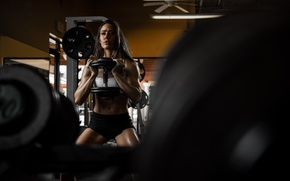 Wallpaper face, model, hair, figure, Valentina, the gym, exercise, dumbbell