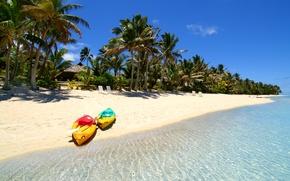 Picture sea, tropics, palm trees, boat, island, the Maldives