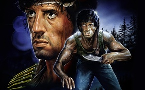 Wallpaper Rambo: First blood, First Blood, Sylvester Stallone, art, figure, Sylvester Stallone, John Rambo, action