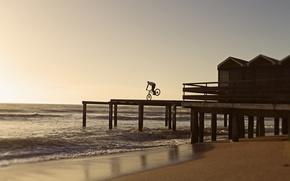 Picture waves, beach, bike, sea, ocean, morning, sand, sunrise, dawn, rider, seaside, pier