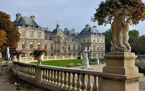Wallpaper trees, flowers, Park, castle, France
