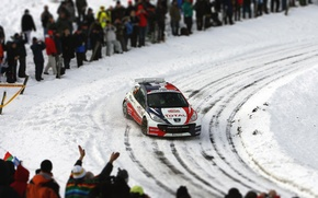 Picture Winter, Auto, Snow, Sport, Machine, People, Turn, Race, Skid, Peugeot, WRC, Rally, Rally, Fans, 207