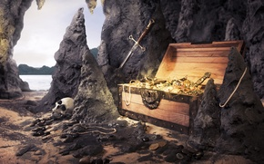 Wallpaper sand, sea, beach, stones, rocks, skull, sword, necklace, pearl, coins, chest, treasures
