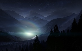Picture forest, the sky, stars, light, trees, landscape, mountains, night, nature, fog, lake, shadow, rainbow, silhouette