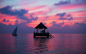 Picture the ocean, romance, boat, the evening, candles