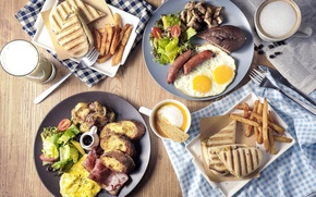 Picture sausage, coffee, bread, meat, scrambled eggs, meals, potatoes, cuts