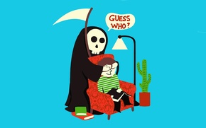 Picture death, humor, guess who, surprise, the grim Reaper