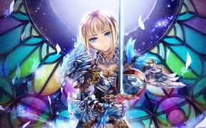 Picture girl, sword, fantasy, art, armor, toi