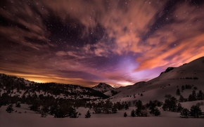 Picture winter, stars, snow, mountains, night, tree, glow