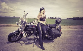 Picture girl, motorcycle, Wendy