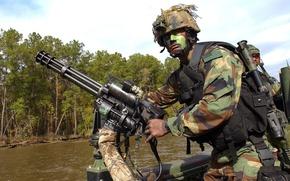 Picture gun, USA, bullets, soldier, river, military, weapon, jungle, war, flag, rifle, pearls, machine gun, ammunition, …