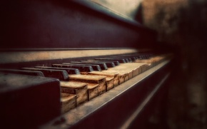 Picture keys, piano, bokeh, Aged to Perfection