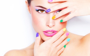 Picture woman, face, fingers, painted nails