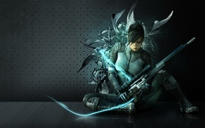Picture girl, weapons, wall, abstraction, neon, costume, form, sniper, sniper rifle, sniper