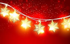 Picture stars, light, decoration, lights, holiday, Shine, Christmas, garland, stars
