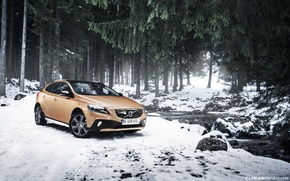 Picture snow, trees, spruce, Volvo, river, Volvo V40, Cross County