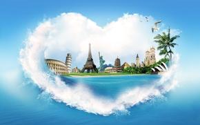 Wallpaper sea, water, squirt, palm trees, creative, shore, heart, Eiffel tower, seagulls, pyramid, Colosseum, the statue ...