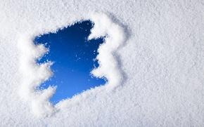 Picture winter, snow, snowflakes, blue, winter, snow