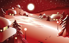 Picture winter, snow, night, vector, New Year, Christmas, postcard