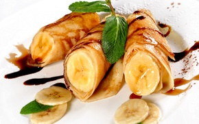 Picture photo, Leaves, Bananas, Food, Pancakes, Cakes