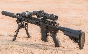 Picture desert, assault rifle, sand, telescopic sight, military equipment