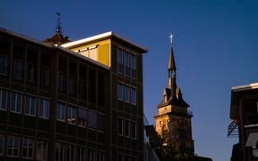 Picture City, Autumn, Evening, Building, Stuttgart, Church, Tower, Collegiate Church, SKy