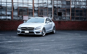 Picture CLS, Silver, The building, Mercedes Benz, Power, 550, Windshield
