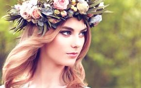 Wallpaper girl, the beauty, wreath, Beautiful blonde woman