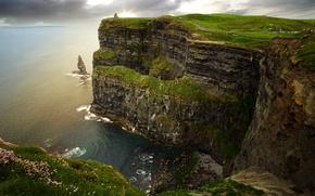 Wallpaper sea, rocks, coast, horizon, Ireland, Galway