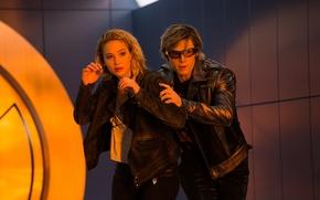 Wallpaper frame, glasses, jacket, Mystic, Jennifer Lawrence, Jennifer Lawrence, Raven, Evan Peters, Quicksilver, Evan Peters, X-Men: ...