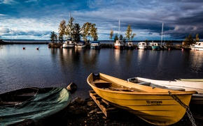 Picture the sky, trees, clouds, lake, boats, harbour