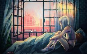Picture girl, bed, home, window, art, ajgiel