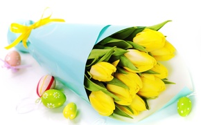 Wallpaper flowers, eggs, bouquet, tulips, Easter, Easter