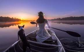 Wallpaper dog, the evening, boat, girl, paddle, river, sunset