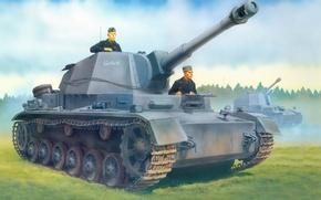 Picture figure, installation, The second world war, SAU, self-propelled, artillery, 128 mm German, Pz.Sfl. IVb