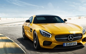 Picture machine, auto, yellow, desert, coupe, Mercedes-Benz, track, Mercedes, sports car, Mercedes, AMG, 2014, Mercedes-AMG GT