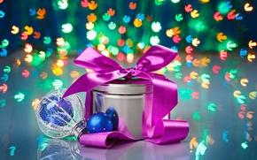 Wallpaper bokeh, holiday, Christmas toy, gift