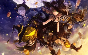 Picture the sky, night, holiday, the moon, hat, anime, art, candy, skeleton, girl, pumpkin, witch, broom, ...