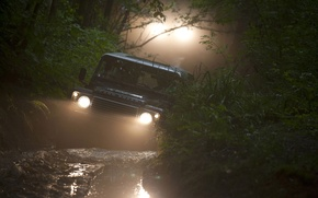 Picture background, lights, jeep, Land Rover, Defender, Land Rover, Defender, forest.dirt, SUV.the front