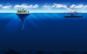 Picture island, minimalism, submarine