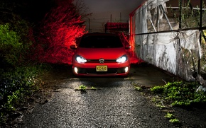 Picture night, red, volkswagen, before, red, Golf, golf, gti, low, MK6