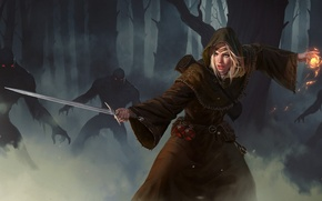 Picture forest, girl, magic, sword, art, undead