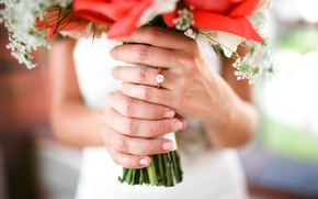 Picture girl, bouquet, ring, the bride